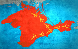 The map of Crimea with the Russian expansion. And occupation Royalty Free Stock Images
