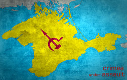 The map of Crimea with the Russian expansion. And occupation Stock Photo