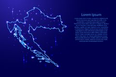 Map Croatia from the contours network blue, luminous space stars for banner, poster, greeting card  illustration Royalty Free Stock Images