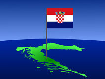 Map of Croatia with flag Stock Photography