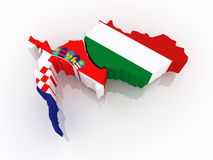 Map of Croatia and Hungary. Royalty Free Stock Photos