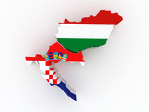 Map of Croatia and Hungary. Stock Photo