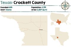 Map of Crockett county in Texas. Detailed map of Crockett county in Texas, USA Royalty Free Stock Images