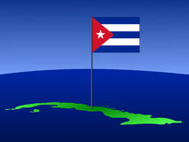 Map of Cuba with flag Royalty Free Stock Photos