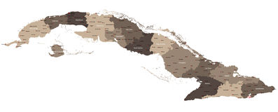 Map of Cuba. Large and detailed maps of all provinces of Cuba Royalty Free Stock Image