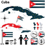 Map of Cuba. Vector of Cuba set with detailed country shape with region borders, flags and icons Royalty Free Stock Images