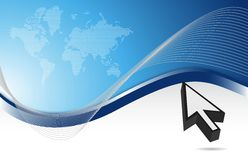 Map and cursor blue background. With waves Royalty Free Stock Photography
