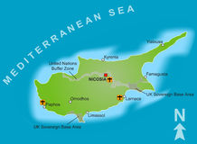 Map of Cyprus Royalty Free Stock Images