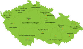 Map of Czech Republic. Czech Republic map designed in illustration with the regions colored in grey colors and with the main cities. Neighbouring countries  are Stock Photography