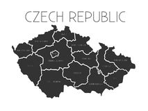 Map of Czech Republic with administrative regions Royalty Free Stock Photos