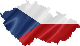 Map of Czech Republic with Flag stock image