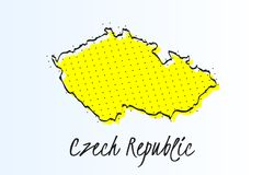 Map of Czech Republic, halftone abstract background. drawn border line and yellow color vector illustration