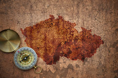Map of czech republic on a old vintage crack paper Royalty Free Stock Photography