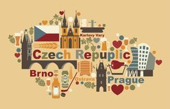 The Map Of Czech Republic Stock Photography