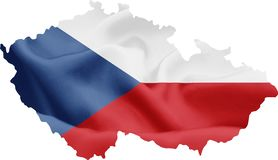 Map of Czech Republic with Flag royalty free stock photos