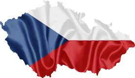 Map of Czech Republic with Flag stock photo