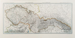 Map of the Czechoslovak republic from 1935 Royalty Free Stock Photo