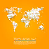 Map 3d polygon art cube. Vector illustration Royalty Free Stock Images