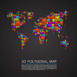Map 3d polygon art cube. Royalty Free Stock Photos