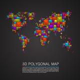 Map 3d polygon art cube. Vector illustration Royalty Free Stock Photos