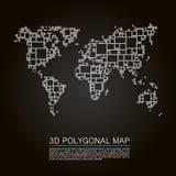 Map 3d polygon art cube. Vector illustration Royalty Free Stock Photo
