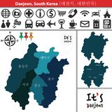 Map of Daejeon with Districts, South Korea. Vector map of Daejeon, South Korea with named districts and travel icons. Districts are signed in original korean stock illustration