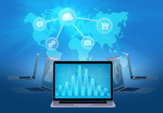 Map data storage in the cloud data, Stock Photo