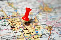 Dayton, Ohio. A map of Dayton, Ohio marked with a push pin royalty free stock photo