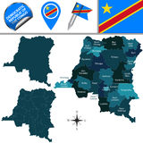 Map of Democratic Republic of the Congo. Vector map of Democratic Republic of the Congo with named provinces and travel icons Royalty Free Stock Photos