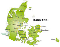 Map of Denmark Royalty Free Stock Photos