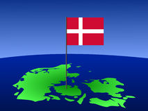 Map Of Denmark With Flag Royalty Free Stock Photo