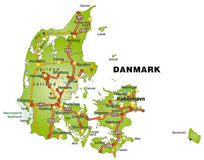 Map of Denmark with highways Royalty Free Stock Photo
