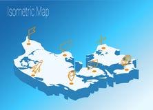 Map Denmark isometric concept. Royalty Free Stock Photo