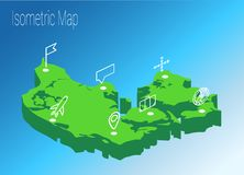 Map Denmark isometric concept. Stock Images