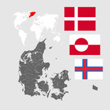 Map of Denmark with lakes and rivers and three flags. Royalty Free Stock Photo