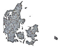 Map of Denmark on poppy seeds. Colorful and crisp image of Denmark on poppy seeds Stock Photo