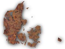 Map of Denmark on rusty metal. Colorful and crisp image of Denmark on rusty metal Royalty Free Stock Photos