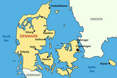 Map of Denmark - vector Stock Images