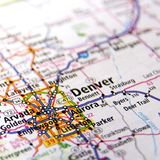 Map of Denver. A map with the focus on the city of Denver in Colorado Royalty Free Stock Photo
