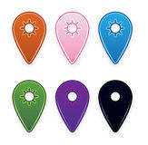 Map and desk pins in many colors Stock Photo