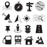 Map Destination and Location Icons Set Royalty Free Stock Image