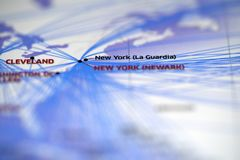Close up look at Map details highlight cleveland airport and newyork la guardia airport. Map details highlight cleveland airport and newyork la guardia airport stock image