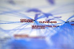 Map details highlight cleverland and chicago. Close up look at flight route map highlight cleverland and chicago royalty free stock photo