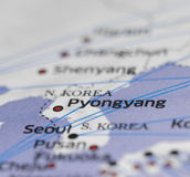 Map details  highlights pyongyang and seoul. Map details seol pyongyang and seoul Royalty Free Stock Image