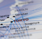 Map details  highlight Tokyo. Map details to highlight Tokyo Royalty Free Stock Photos