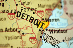 Map of Detroit Michigan. Metro area royalty free stock image