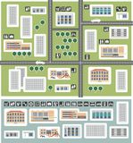 Map of district. On the map of the district shows houses, shops, shopping centers, schools, educational institutions, kindergartens, gas stations, office stock illustration