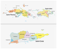 Map of the Districts and sub-districts of the United States Virgin Islands Royalty Free Stock Images