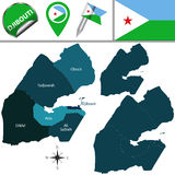 Map of Djibouti with Named Regions Royalty Free Stock Photography
