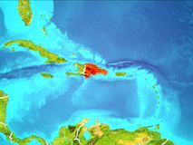 Map of Dominican Republic. Dominican Republic highlighted in red from Earth's orbit. 3D illustration. Elements of this image furnished by NASA Stock Image